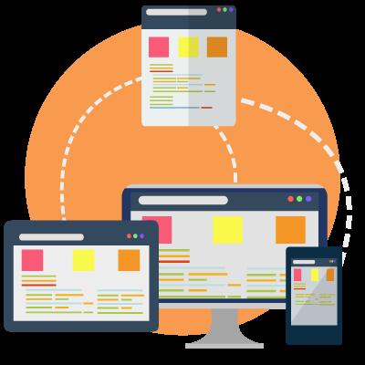 concepto gráfico del funcionamiento de una página web sobre distintos dispositivos