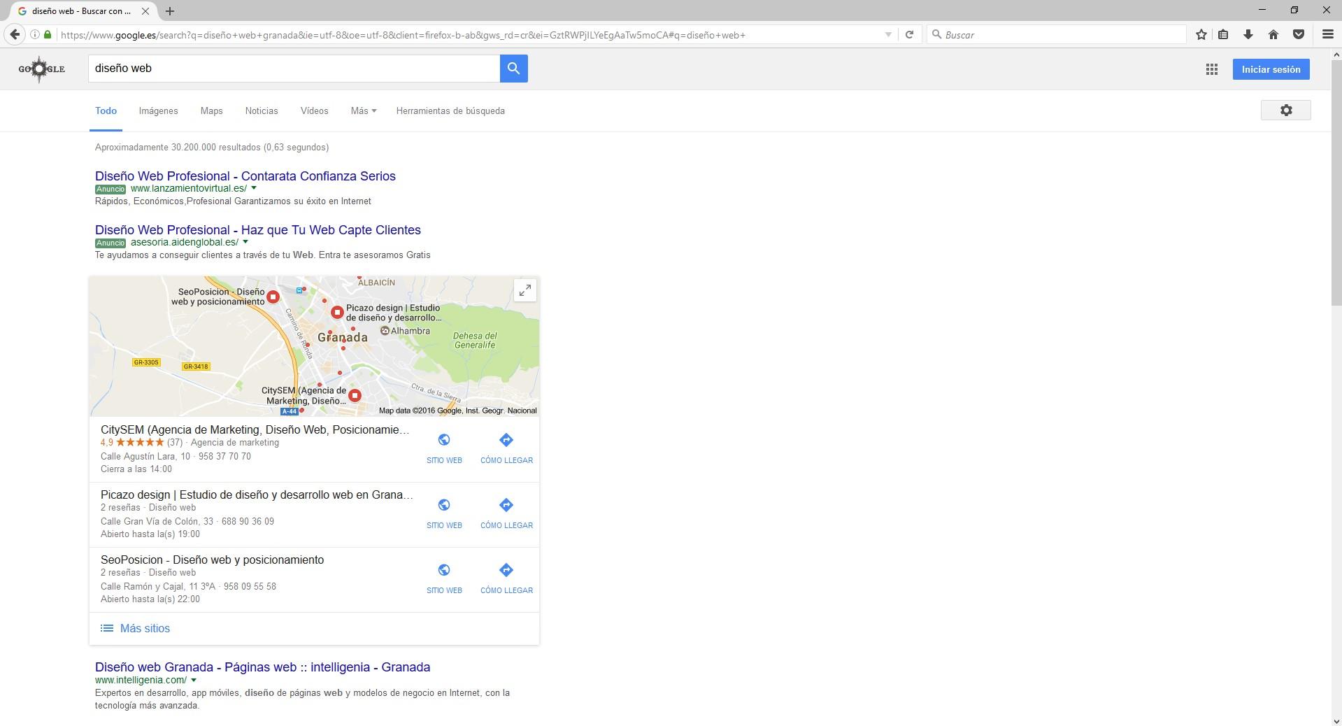 Búsqueda de diseño web en google