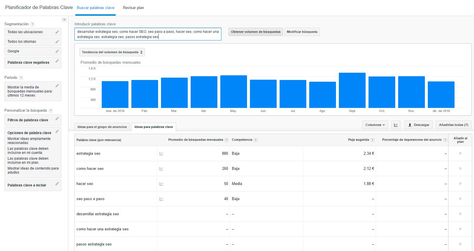 busqueda en keywordplanner