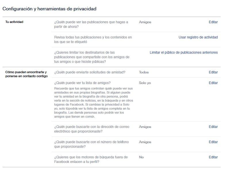 Captura de Pantalla de ajustes de privacidad en Facebook