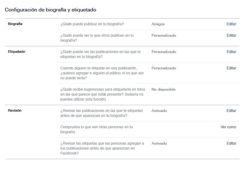 Captura de pantalla de los campos de biografía y etiquetado en Facebook