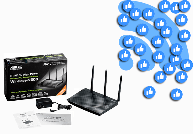 router asus compatible con Facebook