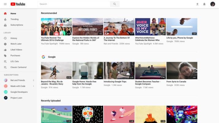 Nueva versión de escritorio para youtube