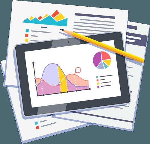 Tablet con una gráfica de estudio de marketing