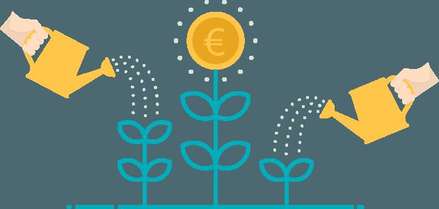regar la planta del dinero