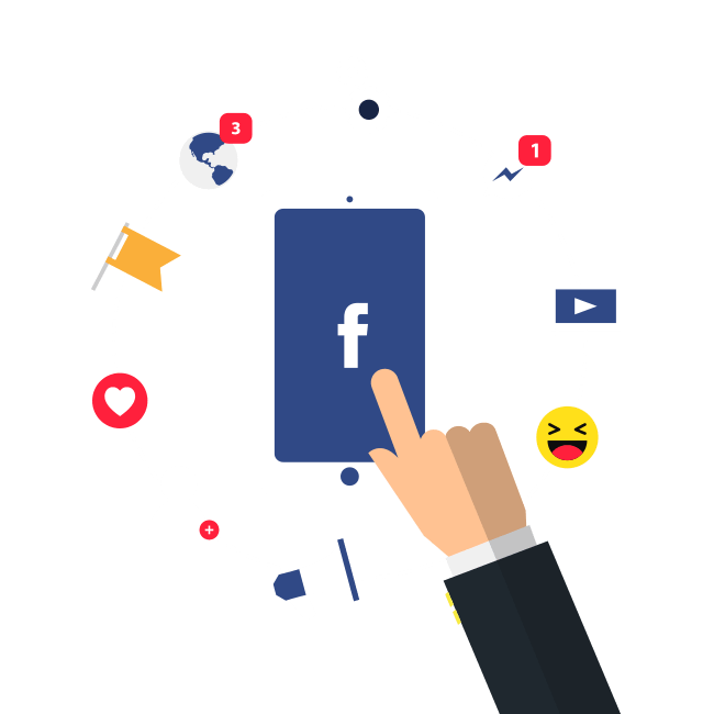 Facebook Ads fondo con un movil y letras