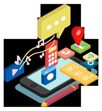 imagen que muestra un móvil del que salen los iconos de las aplicaciones