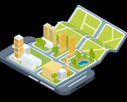 imagen que muestra un móvil desde el que se despliega un mapa urbano
