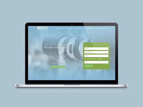 Mockup sobre MacBook Pro de Detectives Madrid IRIS