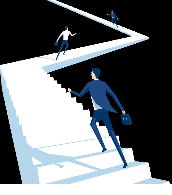 Personajes ascendiendo puestos representados con escaleras