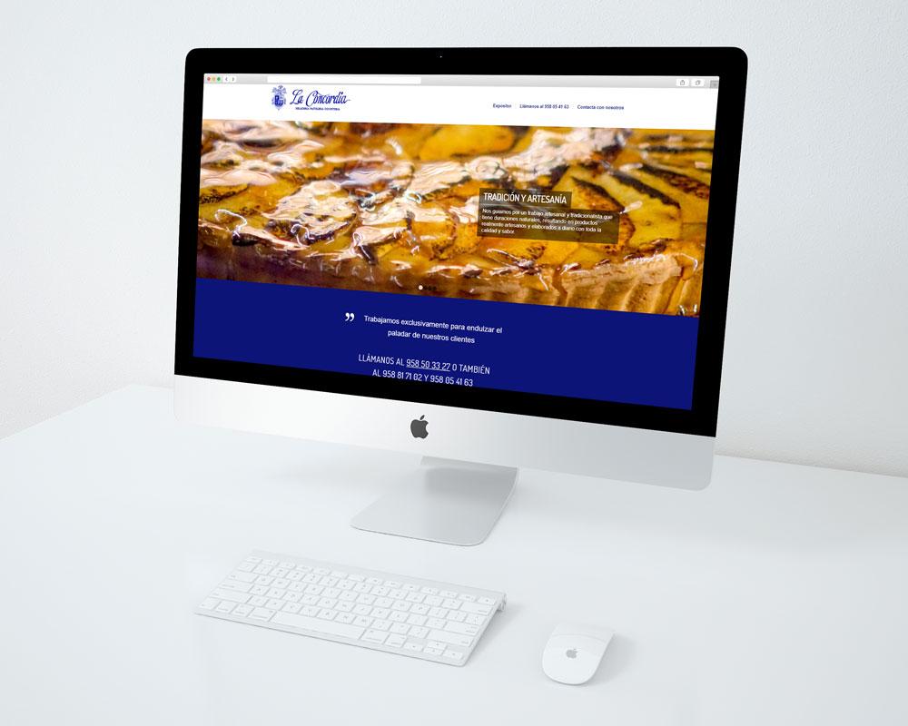 Mockup sobre iMac de Pastelería La Concordia
