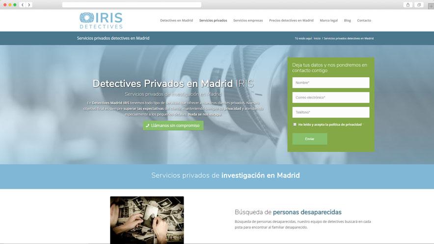 Mockup muestra en navegador de Detectives Madrid IRIS