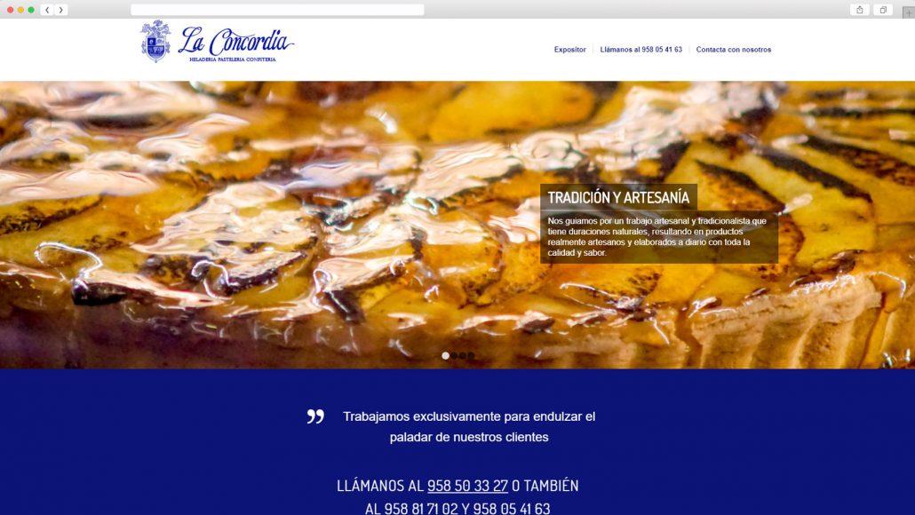 Mockup versión de navegador de pastelería La Concordia