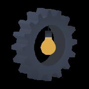 imagen que muestra un engranaje con una bombilla en su interior