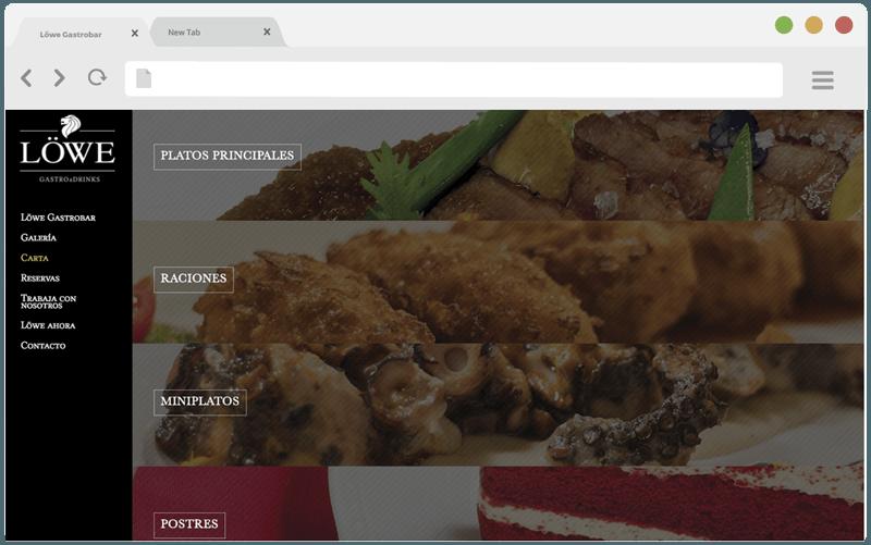 Diseño web menu Lowe Granada