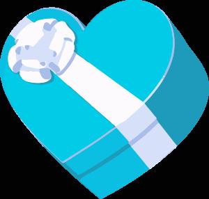 Imagen de una caja de corazón azul y blanca