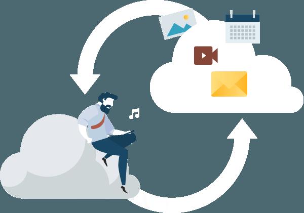 Empresario cargando y descargando inforación y archivos a la nube