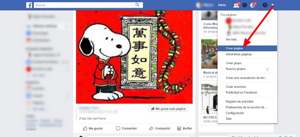 Captura de pantalla del botón para crear Página de Facebook en PC
