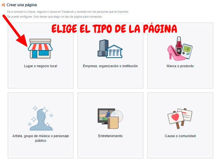 Captura de pantalla de las opciones de página de empresa en Facebook