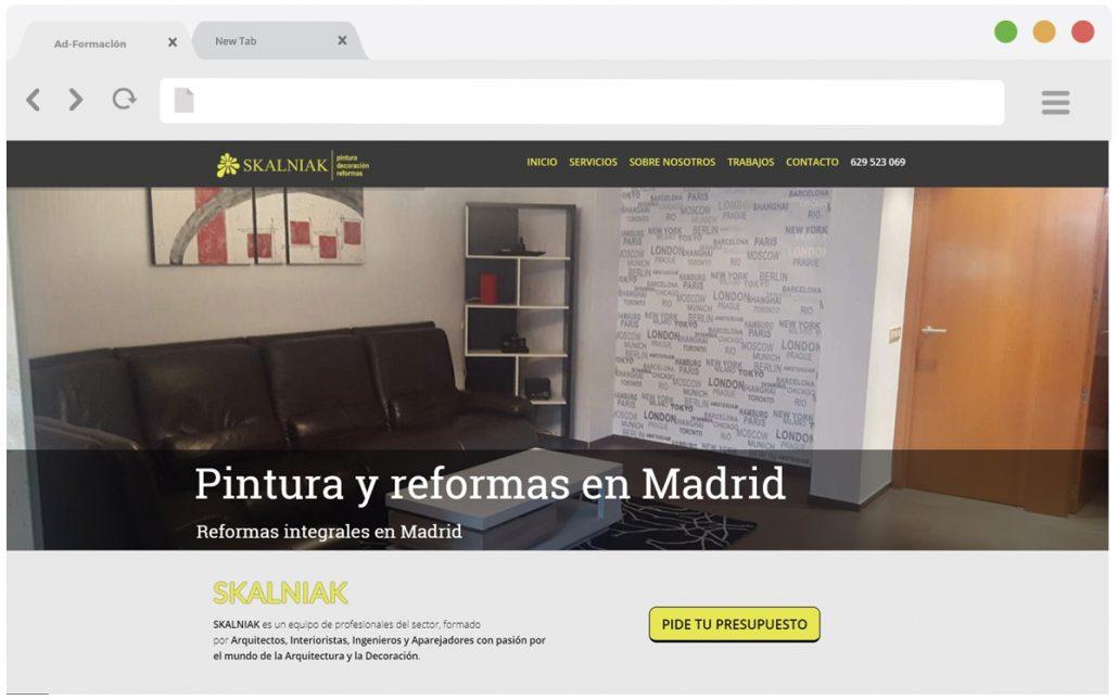 Pantallazo pinturas y reformas en Madrid.