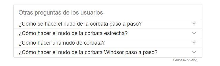 captura de pantalla de sugerencias de búsqueda de Google
