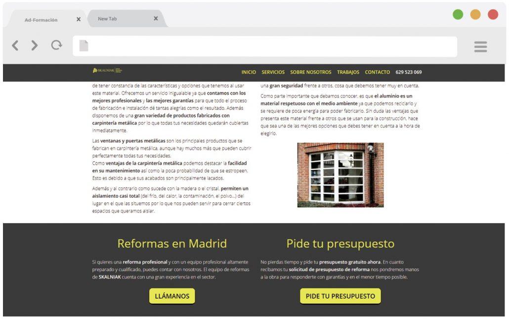 Pantallazo secciones sobre pinturas y reformas en Madrid