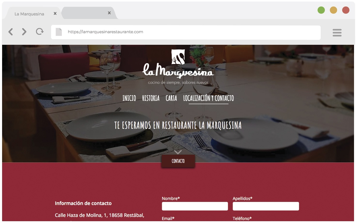 Sitio web Restaurante La Marquesina